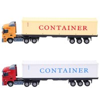 Wholesale toy construction trucks resale online - Mini Alloy Construction Vehicle Model Toys Simulation Container Trailer Truck Diecast Model Toy Car Birthday Gift For