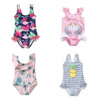25f669e76b 9 Styles 2019 kids swimwear cartoons Unicorn Floral girl swimming bikini  bathing suits One-Pieces children piece swim suit Kids Swimsuits