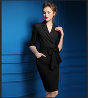 siyah kırmızı ol elbise toptan satış-Bahar Kadın Şık Ofis Elbise Siyah Kırmızı Kalem BODYCON İş Elbise Ol Günlük Elbise Kadın Elbiseler T190801 To Work Wear