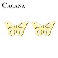 mariposa de oro jade al por mayor-CACANA Pendiente de botón de acero inoxidable para mujer HombreHollow Butterfly Gold and Silver Color Engagement Jewelry