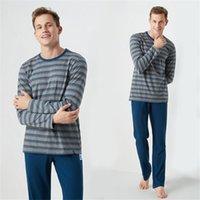 mavi olanlar toptan satış-Sonbahar Uzun Kollu erkek Pijama Rahat Gevşek Erkekler Pijama Setleri Çizgili Erkekler Için Mavi Pamuklu Pijama Ev Tekstili Uyku Salonu MA50188
