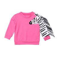 зебра для девочек оптовых-Tassels Toddler Kid Baby Girls 3D Zebra Tops T-shirt Sweaters Clothes 1-6Years