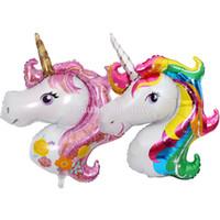 globos de aluminio en forma al por mayor-10 Unids Rainbow Unicornio Forma Foil Globo de Aire Globos de Mylar Fiesta de Celebración de Navidad Decoración Rosa Púrpura Envío Gratis