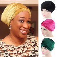 Wholesale turban headband hijab resale online - New Fashion Women Velvet Turban Headband Wrap Hijab Extra Long Velvet Tube Head Wrap Scarf Turbante