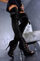 длинный шнурок оптовых-Сексуальные черные коричневые длинные сапоги из змеиной кожи выше колен сапоги с открытым носком на шнуровке из плетеной бахромой с ремешками из металлической обуви