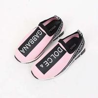 zapatos de vestir de niña rosa niños al por mayor-Zapatos de niña deporte deportivo de moda zapatillas deportivas para bebé niño niña zapatos atléticos Pink slip en vestido de niño para niña Eu26-35