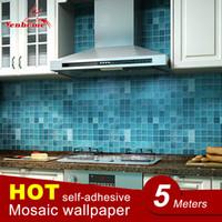 mutfak karoları çıkartmaları toptan satış-5 Metre Pvc Duvar Sticker Banyo Su Geçirmez Kendinden Yapışkanlı Duvar Kağıdı Mutfak Mozaik Karo Duvarlar Çıkartması Ev Dekorasyonu Için Çıkartmalar