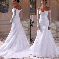 Wholesale back neck model for sale - Group buy Hot Sale White Appliques nigerian lace styles Offer the shoulder Long Sleeve Zipper Back Mermaid Wedding Dresses