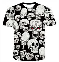 schädelt-shirt frauen groihandel-Neue Art-heiße Art und Weise lustige Rose Clown und weißes Schädel-T-Shirt 3D drucken Männer / Womens Sommer-runder Kragen-Kurzschluss-Hülsen-beiläufige Oberseiten
