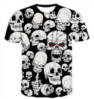 ingrosso donne della maglietta del cranio-New Style Hot Fashion Divertente Rosa Clown e Teschi Bianchi T Shirt 3D Stampa Uomo / Donna Estate Colletto Rotondo Manica Corta Casual Tops U1501