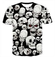 kafatası tişört kadınları toptan satış-Yeni Stil Sıcak Moda Komik Gül Palyaço ve Beyaz Kafatasları T Gömlek 3D Baskı Erkek / Bayan Yaz Yuvarlak Yaka Kısa Kollu Casual U1501 Tops