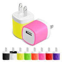 iphone cargadores de pared usa plug al por mayor-Cargador de pared Adaptador de viaje para Iphone 6S MÁS 5 V / 1A Colorido enchufe casero Cargador USB para Samsung S6 EE. UU. Versión de la UE versión de DHL