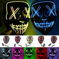 Wholesale led glow costumes resale online - Halloween Mask LED Light Up Party Masks The Purge Election Year Great Funny Masks Festival Cosplay Costume Supplies Glow In Dark MMA2295