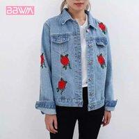 chaqueta coreana para mujer al por mayor-Otoño Nueva versión coreana de las mujeres la flor rosa bordado chaqueta de mezclilla salvaje corto chaqueta de manga larga para mujer abrigo