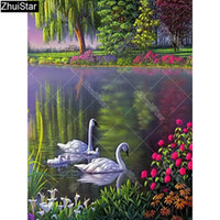 Wholesale paintings swans for sale - Group buy Zhui Star Full Square Drill D DIY Diamond Painting quot Swan couple quot D Embroidery Cross Stitch Rhinestone Mosaic Decor Y7