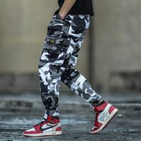 ingrosso stile militare di jogger-Moda Uomo Streetwear Jeans Camouflage Army Pants hombre Pantaloni cargo da taschino stile giapponese Big Hip Hop Joggers
