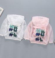 niños bebés chaquetas impermeables al por mayor-animal de la historieta de la chaqueta de la protección del sol del verano hoodies del bebé camisa de la playa Niños Niñas impermeable Ropa niños rompevientos