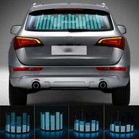 lámpara de ritmo de música de coche al por mayor-Niscarda Car Blue LED Music Rhythm Flash Light Sonido Activado Sensor Ecualizador Parabrisas trasero Sticker Styling Kit de lámpara de neón
