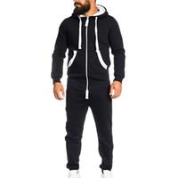 комбинезоны для пижамы оптовых-Men's 2019 Spring autumn Hoodie Unisex Jumpsuit One-piece garment Non Footed Pajama Playsuit zipper solid color Clothing