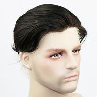 1b de negro al por mayor-Piel fina para dupla de 0,06 mm para hombres, 100% remy, pieza de reemplazo de cabello humano remy de color negro # 1B