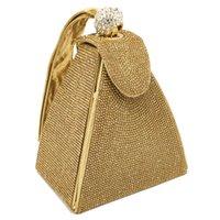 bolso de monederos de novia al por mayor-Diamante de la vendimia de la boda nupcial monedero Mini gris pirámide bolsos de fiesta mujeres bolsa muñequeras embragues de noche de cristal bolsos de embrague
