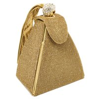 vintage brautkupplungen groihandel-Vintage Diamant Braut Hochzeit Geldbörse Mini grau Pyramide Party Handtaschen Frauen Tasche Wristlets Kupplungen Kristall Abend Handtaschen