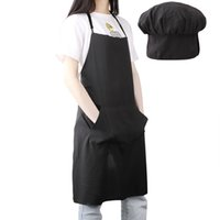 Wholesale kitchen cotton sets for sale - Group buy Chef Hat Apron Set Unisex Cotton Solid Cleaning Apron Hats Adjustable Kitchen Aprons with Cooking Hat for Unisex
