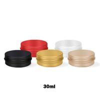 ingrosso scatole di metallo rosso-30 ml di barattoli di alluminio riutilizzabili vuoti oro nero rosso argento metallo stagno 30 g / 1 oz contenitori cosmetici artigianato imballaggio