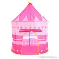 ev prensesi kale toptan satış-ht 3 Renkler Çocuklar Oyuncak Çadırlar Çocuklar Katlanır Ev Taşınabilir Açık Kapalı Oyuncak Çadır Prenses Prens Kale Cubby Playhut Hediyeler oyna