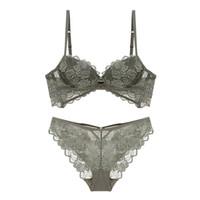 6277c3f5618f4 Sexy floral Lace Bra Set Women Underwear Set Push Up hollow out bra Briefs  Lingerie 3 4 Cup Bra Set transparent Panties