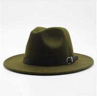 круглые головные уборы для женщин оптовых-Зима Осень Имитация Шерстяные Женщины Мужчины Дамы Верхняя шляпа Fedora Джазовая шляпа Европейские американские круглые шапки Котелок