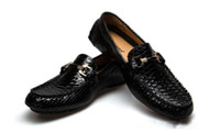 Wholesale wedding men dress new styles resale online - New style black handmade with gold patent buckle fashion loafers party wedding dress shoes men flats Peas shoes