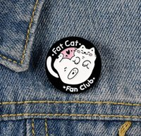 Wholesale brooch fans for sale - Group buy Cartoon White Fat Cat Lying Lazily Pin Enamel Brooch Bag Clothes Lapel Pin Badge Fashion Jewelry Gift For Fan zdl1229