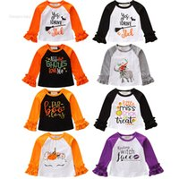 Wholesale long sleeve yellow tops kids resale online - Infant Baby Cartoon Tops Baby Girls Halloween Theme Cartoon Letter Autumn Tops Kids Color Stitching Shoulder Lace Sleeve Shirt