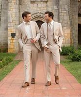 trajes de fiesta champán al por mayor-2020 New Champagne Groom Tuxedos Groomsman Suit Estilo italiano de tres piezas Wedding Prom Party Trajes para hombres Traje de novio por encargo