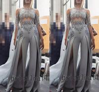 Wholesale chiffon jumpsuits suits resale online – Grey Chiffon Women Jumpsuits Elegant High Split Long Prom Dresses Saudi Arabic Illusion Formal Evening Gowns Lace Appliqued Party Pant Suit