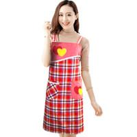 koreanische niedliche küche großhandel-Home apron Korean fashion niedlichen erwachsenen männer und frauen aus reiner baumwolle Kochen Kreative küche catering shop aus reiner baumwolltuchkunst