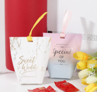 Wholesale baby shower packages resale online - High quality Wedding Favors Gifts Box With Ribbon Party Decoration Supplies Baby Shower Paper Chocolate Boxes Package LFB948
