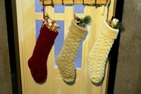 Wholesale family christmas stockings for sale - Group buy Sea Shipping knit Christmas Stocking Blank pet stocks Christmas stockings Holiday Stocks Family Stockings hanging on wall DOM1413