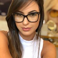 grandes monturas de gafas al por mayor-Moda mujer Acetato Gafas ópticas Tamaño grande Oversized Elegante montura de gafas para mujer Gafas graduadas Marco femenino