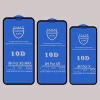 pegamento de película al por mayor-Protector de pantalla de vidrio templado 10D para Iphone XR XS MAX X 8 7 6S más cubierta protectora adhesiva curvada película de vidrio protectora