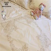 cama queen de marfil al por mayor-100% ropa de cama de algodón hecho a mano Battenburg encaje marfil 4pcs hoja funda de almohada funda nórdica tamaño Queen
