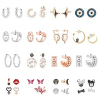 Wholesale original lipsticks for sale - Group buy Autumn new high quality original Sterling Silver DIY popular brand smile lipstick lips Pink Butterfly Earrings sculpture for free party