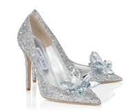белая обувь из золушки оптовых-2019 мода на высоких каблуках свадьба белые туфли Золушка сексуальные дамы кристалл платформы серебряный блеск алмазов невесты туфли на высоких каблуках партии