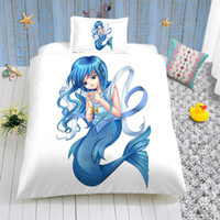 Wholesale beautiful kids beds resale online - Mermaid Printed Bedding Set for Kids Beautiful Cute D Duvet Cover Queen Cartoon King Home Deco Double Single Bed Cover with Pillowcase