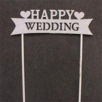 ingrosso torte di compleanno forma del cuore-Cake Flag Decoration Wedding Forniture per feste creative Compleanni Disposizione a forma di cuore Love is Sweet Buon compleanno Bardian 3 5plC1