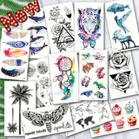 Wholesale ocean wave art resale online - Waterproof Temporary Tattoos ocean feather Wave Mountain flash glitte Tattoo stickers body art for men translated tattoo sleeve