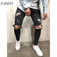 marcas chinese jeans venda por atacado-E-BAIHUI Mens Afligido Jeans Rasgados Motociclista Slim Fit Stretch Jeans Marca Designer de Motociclista Motociclista Denim Mens Jeans Dos Homens 11098