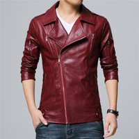 Wholesale drop shipping wine resale online - XIU LUO XL Mens clothing faux leather jacket Short slim coats Drop shipping wine red black2019 Motorstyle jackets high