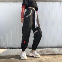 frauen koreanische baggy hose großhandel-Größe Plus Pantalon Large Femme Schwarz Harajuku Cargo Sweat Pants Korean Style Hohe Taille Baggy Jogger Frauen Jogginghose